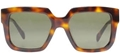 CELINE ESSENTIAL CL41027/S 05L TORTOISESHELL OVERSIZED SUNGLASSES WITH GREEN GREY LENSES