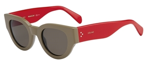 CELINE BI COLOR CL41064/S AFQ KHAKI RED  RETRO ROUND SUNGLASSES