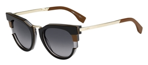 FENDI METROPOLIS CATSEYE WOMEN'S RETRO STYLE SUNGLASSES IN GOLD BROWN BLACK TAUPE