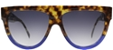 CELINE SHADOW CL41026/S FU9 TORTOISESHELL FLATTOP BLUE FLASH KARDASHIAN STYLE SUNGLASSES
