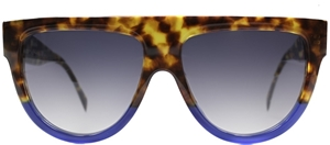 CELINE SHADOW CL41026/S FU9 TORTOISESHELL FLATTOP BLUE FLASH KARDASHIAN STYLE SUNGLASSES
