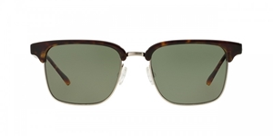 Oliver Peoples Ajax OV5303S 10099A Oak/brushed silver/sage polarized retro inspired clubmaster sunglasses