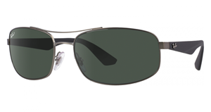 Picture of RayBan RB3527 029/9A 61-17  Metal Gunmetal Polarized classic Green G15 lenses