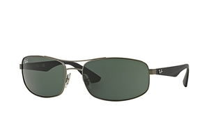 Picture of RayBan RB3527 029/71 61-17 Gunmetal frame with Black arms and Classic Green lenses
