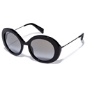 Yohji Yamamoto YY5001 019 CAT2 Black large round acetate frame with Custom Christian Dalloz lenses streetstyle sunglasses