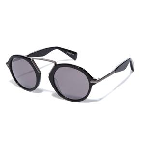 yohji yamamoto YY5009 613 black round reconstructed streetstyle sunglasses