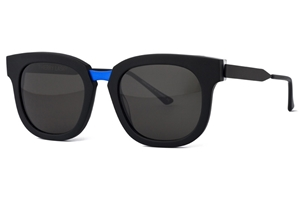 thierry lasry arbitrary 101 matte black blue flash bridge, mazzucchelli acetate and titanium,luxury wayfarer,streetstyle sunglasses