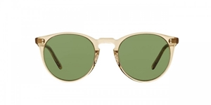 OLIVER PEOPLES O'MALLEY SUN OV5183/S 109452 ROUND KEYHOLE BRIDGE CLASSIC BUFF CRYSTAL FRAME WITH GREEN C LENSES