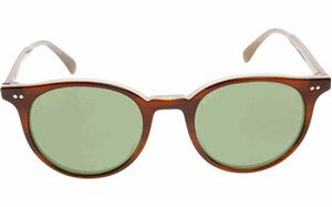 OLIVER PEOPLES ROUND DELRAY SUNGLASSES IN DARK TORTOISESHELL WITH C GREEN MINERAL GLASS  OV5314SU 147052