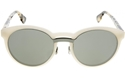 DIOR ONDE1 MATTE WHITE X61(0T) LIGHT HAVANA DIOR LOGO MIRROR ROUND FASHION SUNGLASSES
