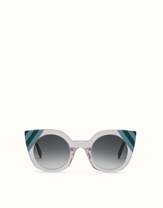 FENDI WAVES FF0240/S 35J(9K) TRANSPARENT PINK CATSEYE SUNGLASSES