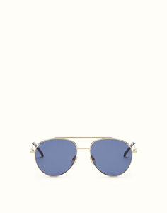 FENDI AIR FF0222/S 000(KU) ROSE GOLD AVIATOR UNISEX SUNGLASSES