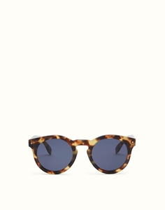 FENDI SUN FUN FF0214/S SCL(KU)  HAVANA ROUND BLUE LENSES RETRO SUNGLASSES