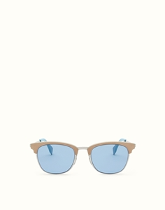 FENDI QBIC FF0228/S SCB(KU) BEIGE BLUE LEATHER FINISHED WAYFARER STYLE SUNGLASSES