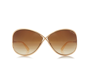 TOM FORD MIRANDA FT0130 28F SHINY ROSE GOLD GRADUATED BROWN LENSES SOPHISTICATED SUNGLASSES