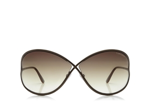 TOM FORD MIRANDA FT0130 36F SHINY DARK BRONZE GRADUATED BROWN LENSES SOPHISTICATED SUNGLASSES