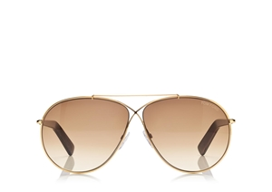 TOM FORD EVA FT0374 28F CLASSIC SHINY ROSE GOLD BROWN GRADIENT AVIATOR UNISEX SUNGLASSES