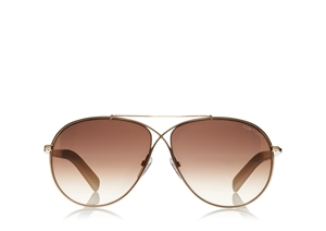TOM FORD EVA FT0374 28G CLASSIC SHINY ROSE GOLD BROWN MIRRORED AVIATOR UNISEX SUNGLASSES