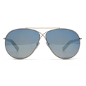 TOM FORD EVA FT0374 28X CLASSIC SHINY ROSE GOLD BLU MIRRORED AVIATOR UNISEX SUNGLASSES