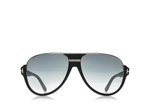 TOM FORD DIMITRY FT0334 02W MATTE BLACK SILVER VINTAGE STYLE FLATTOP AVIATOR SUNGLASSES