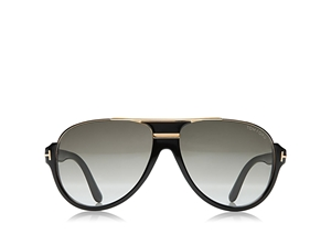 TOM FORD DIMITRY FT0334 01P SHINY BLACK GOLD VINTAGE STYLE FLATTOP AVIATOR SUNGLASSES