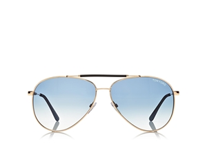 TOM FORD RICK FT0378 28W SHINY ROSE GOLD VINTAGE AVIATOR SUNGLASSES