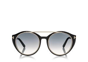 TOM FORD JOAN FT0383 01W SHINY BLACK GOLD ROUND WOMENS SUNGLASSES