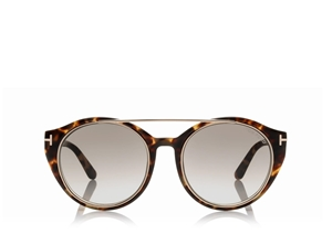TOM FORD JOAN FT0383 56B SHINY HAVANA GOLD ROUND WOMENS SUNGLASSES