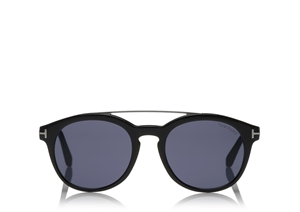 TOM FORD NEWMAN FT0515 53V SHINY BLACK RHODIUM ROUND WOMENS SUNGLASSES