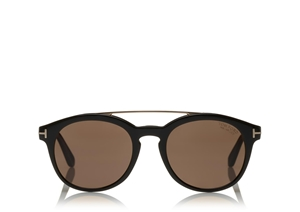 TOM FORD NEWMAN FT0515 05H SHINY BLACK ROSE GOLD POLARIZED UNISEX SUNGLASSES
