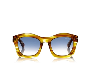 TOM FORD GRETA FT0431 41W SHINY HONEY BROWN GEOMETRIC WOMEN'S SUNGLASSES