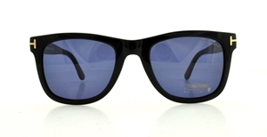 TOM FORD LEO FT0336 01V SHINY BLACK BLUE WAYFARER STYLE SUNGLASSES