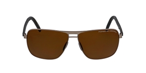 PORSCHE DESIGN P8639 D 6012 E88 LIGHT GOLD POLARIZED BROWN FLATTOP POLARISED MEN'S SUNGLASSES