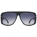 TOM FORD HARLEY FT0433 01W SHINY BLACK  SHIELD STYLE UNISEX SUNGLASSES