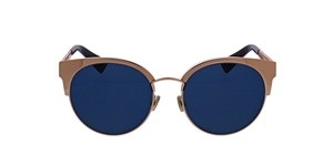 DIOR DIORAMAMINI J5G(DC) GOLD COPPER METAL WITH BLUE LENSES WOMENS CATSEYE STYLE SUNGLASSES