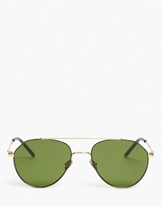 BELSTAFF ROADMASTER SQUARE AVIATOR IN GOLD/BLACK  HIGH IMPACT JAPANESE TITANIUM WITH GREEN ZEISS LENSES