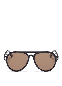 TOM FORD RORY FT0596 01J SHINY BLACK AVIATOR SUNGLASSES