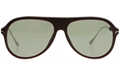 TOM FORD NICHOLAI 02 FT0624 49A MATTE BROWN PILOT SUNGLASSES WITH SHINY GOLD METAL OVERLAYED BROW AND EAR TIPS