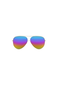 Victoria Beckham Loop Gold metal with rainbow mirrored lenses Aviator VBS133 C08 sunglasses