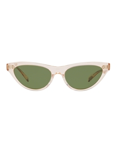 OLIVER PEOPLES ZASIA OV5379SU 165252 IN LIGHT SILK WITH GREEN C LENSES IS A SHALLOW WOMENS CATSEYE