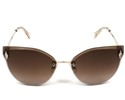 SWAROVSKI SK0158/S 32F GOLD METAL CATSEYE WITH GRADIENT BROWN BEVELLED LENSES  WOMEN'S SUNGLASSES