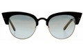 TOM FORD ALEXANDRE-02 FT0607 05X BLACK METAL CATSEYE BLUE MIRROR LENS SUNGLASSES