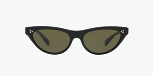 OLIVER PEOPLES ZASIA OV5379SU 100552 53 CATSEYE IN BLACK WITH GREY/GREEN LENSES
