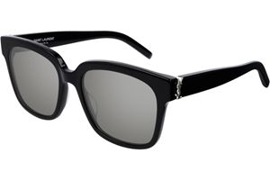 SAINT LAURENT SL M40 002 BLACK GREY OVERSIZED SQUARE MONOGRAM LOGO INLAY SUNGLASSES