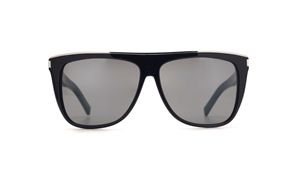 SAINT LAURENT SL 1 001 COMBI BLACK GREY D FRAME SUNGLASSES WITH LOGO DETAIL AND GOLD BROW BAR