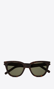 SAINT LAURENT SL 51 002 SMALL IN HAVANA WITH GREEN LENSES IS A CLASSIC WAYFARER STYLE