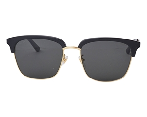 Gucci- Black, gold high polished rectangular sunglasses with classic branding on the sides